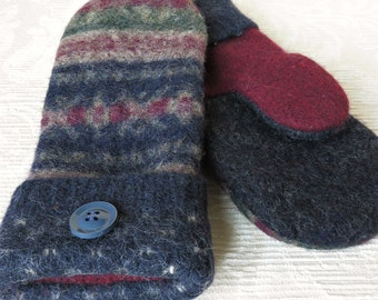 Repurposed Sweater Wool Mittens in Navy Blue, Forest Green and Burgundy, Eco-Friendly Felted Wool Mittens, Adult Size