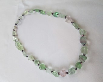 Fluorite and Eggplant Purple Pearl Necklace