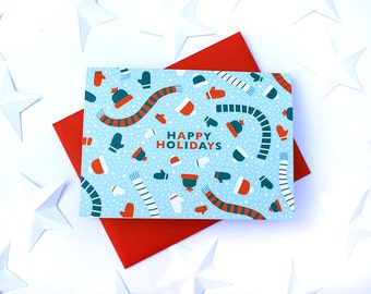 Set of 10 Winter Wear in light blue Holiday Greeting Cards