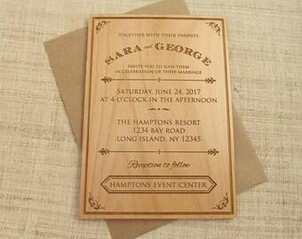 Wooden Wedding Invitation - Art Deco Wedding Invitation - Real Wood Invite