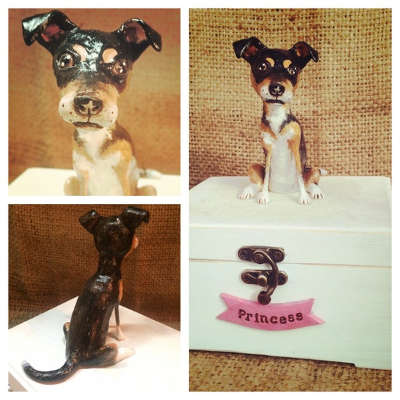 Personalized Pet Urn clay folk art sculpture or memorial based on your pets photo Medium
