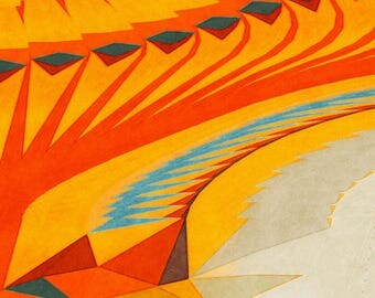 Southwest Desert New Mexico Arizona Colorful Turquoise Summer Orange Yellow Red Illustration Print Giclée Wall Hanging Decor Poster Fine Art