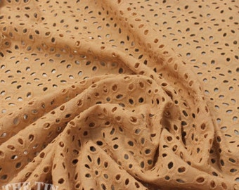 Embroidered Cotton Eyelet in Camel - 1 1/8 Yard - Cotton Fabric / Eyelet by Yard / Cotton Eyelet / Garment Fabric / LAST PIECE!