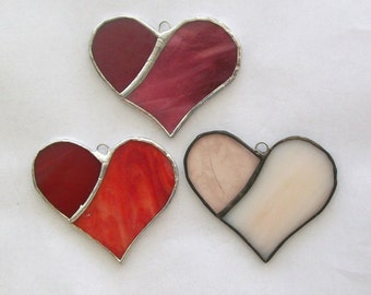 Heart ornament set 2 toned stained glass hearts 3 heart ornaments