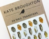 owl nail transfers - illustrated bird nail art stickers - wildlife / nature nail decals