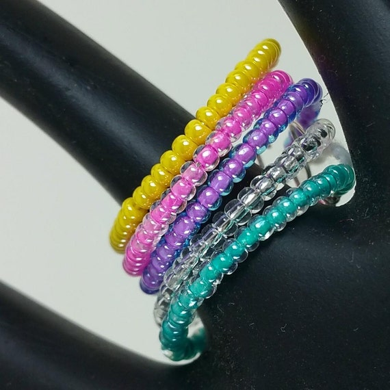 Stacking rings for fingers thumbs toes set of 5 pink purple yellow crystal and turquoise seed beads stackable 840