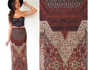FLASH SALE / 20% off Vintage 90s Orient Express Pima Cotton Knit Maxi Sweater Skirt (size medium)