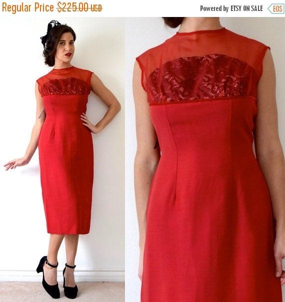 JANUARY SALE / 20% off Vintage 60s Siren Red Cocktail Dress with Built in Black Lace Strapless Bra (size medium)