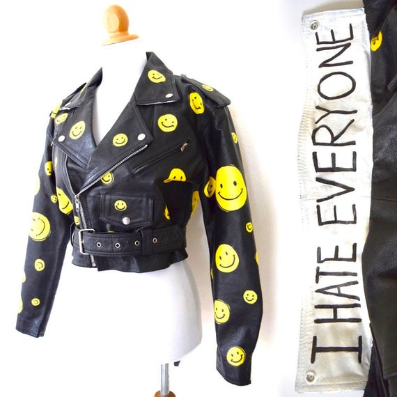 Vintage 80s 90s I Hate Everyone Black Leather Hand Painted Happy Face Cropped Motorcycle Jacket (size small, medium)