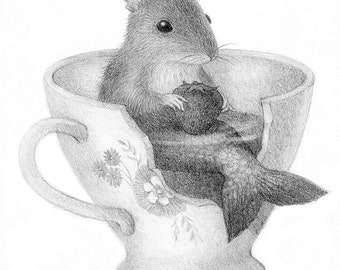 Mouse Mermaid Drawing Black and White Pencil Nature Illustration Whimsical