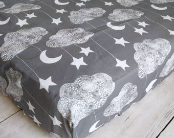 Moon, Cloud, and Stars Fitted Crib Sheet for Baby Boy Nursery - Gray Fitted Crib Sheet - Gender Neutral Crib Sheet