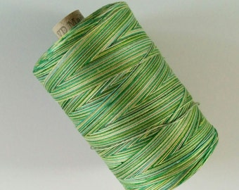 One 1080 yard spool valdani variegated thread 35 wt in Green Grass colorway