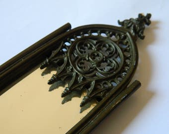 Rare and Elegant wall hanging Neo-Gothic mirror - French pocket watch holder - Napoleon III watch case - Hook keys - necklace hanging