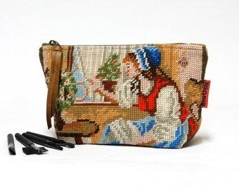 Cosmetic Bag, Needlepoint Makeup bag, zipper pouch, Handmade by EllaOsix