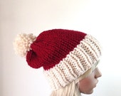 HOLIDAY SALE Knit Santa Hat, Slouchy Beanie, Christmas Hat, Holiday Hat,  Pom Pom, Cranberry and Fisherman, Choose other colors