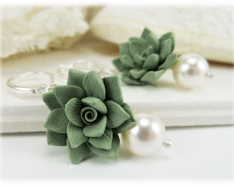 Pale Succulent Pearl Earrings - Succulent Pearl Jewelry for Succulent Wedding