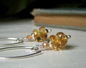 Genuine Citrine Earrings Sterling Silver, Madeira Citrine Rondelle, Natural Gemstone Jewelry, Microfaceted Honey Amber Gemstone Dangle