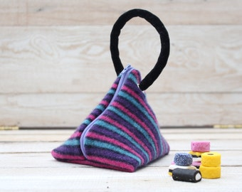Triangle Pouch in Navy  Pink Purple and Blue Stripes