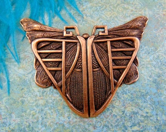 ANTIQUE COPPER * Deco Scarab Butterfly Stamping ~ Jewelry Ornament Findings (C-407)