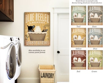 Blue Heeler Australian Cattle dog Laundry Company basket illustration graphic art on canvas by stephen fowler