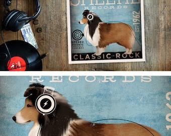 Sheltie shetland sheepdog dog records illustration graphic artists signed giclee print by Stephen Fowler