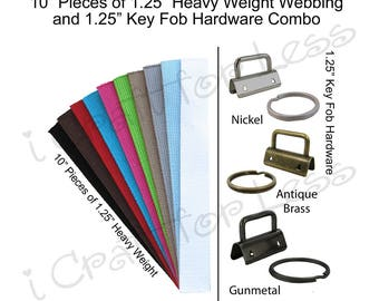 25 Key Fob Hardware and 25 - 10 Inch Pieces of Heavy Weight Cotton Webbing Combo - 1.25 Inch - Plus Instructions - SEE COUPON