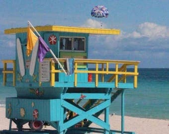 Art Deco 100 Jetty Lifeguard Tower of Miami Beach - South Beach Architecture - Original Colour Photograph by Suzanne MacCrone Rogers