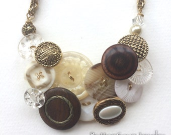 Mixed Media Button Statement Necklace - Brass, wooden, Sparkle
