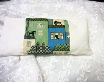 Eye Pillow - Heat Pack with Removable Cover -  Black Cat Cotton Print & White Linen Fabric - Handmade