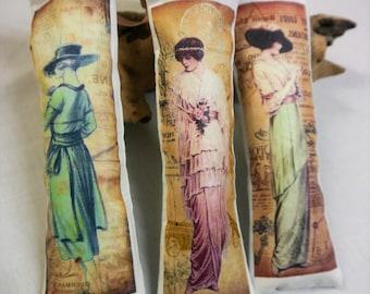 Edwardian Ladies Fashion - Lavender Sachets  Set of Three  -  Eygyptian Cotton - Handmade in France