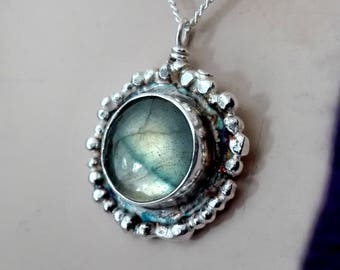 Labradorite Necklace, Chain Necklace, Labradorite Pendant Necklace, Sterling Silver, Labradorite Gemstone necklace, Labradorite Cabochon