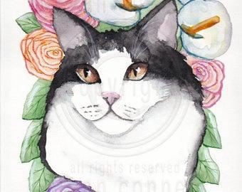 CAT Art Portrait of A Tuxedo Cat- Original Cat Folk Art Watercolor Painting