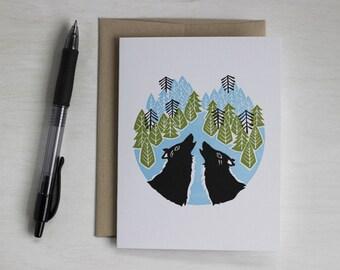 Wolf Letterpress Blank Card, Howling Wolves, Forest Art, Dog Lover, Anniversary Card, Engagement Card, Wedding Card, Wolf Art, Valentine