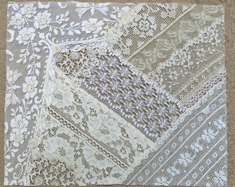 Vintage & Antique Lace Collage, No. 38 ... Frameable Lace Art ...crazy quilting, heirloom sewing, fabric art, books, assemblage, mixed media