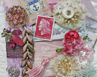 Embellishment Inspiration Kit...Light Pink...Gift Box 97,Series 1...Vintage Elements, Collage, Mixed Media,Crazy Quilt, Art Journal Supplies
