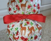 Turn Up Ponytail Scrub Hat with Holiday Forest