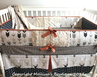 Custom Rustic Deer Fletching Arrows Plaid & Hide Tan Black Cream with Burnt Orange Baby Nursery Bedding Set MADE To ORDER