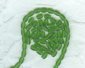 20 Grassy Green Translucent   Glass Vintage West German Rice  Beads 8 x 2 mm