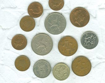 13 Vintage Foreign Coins Collectors Craft Jewelry Mixed Lot