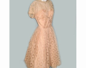 1950's R & K Originals Peach Lace Party Dress