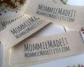 Organic Cotton Fabric Ribbon Name Labels - Clothing Labels Made to Order - 20 Labels With Two Lines of Text