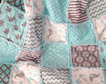 Rag Quilt, Elephant, Giraffe,  Baby, Toddler, Nursery, Aqua, Teal, Gray, Chevron, Dots, Stripes, Modern, Ready to Ship
