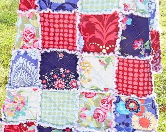 Rag Quilt - Lap Quilt - Amy Butler Fabrics - Love Collection - Bright Colors Quilt - Patchwork Quilt - Floral Rag Quilt - Handmade Quilt