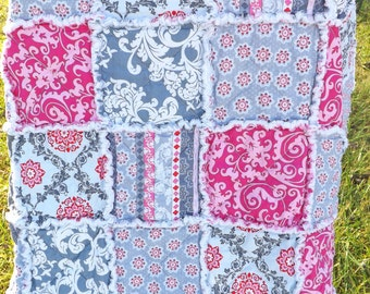 Pink and Gray Rag Quilt - Lap Rag Quilt - Modern Fabrics