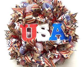 Patriotic Wreath July 4th Deco Mesh Wreath Red White and Blue