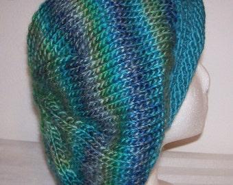 Rolled Brim Wool/Acrylic Tam - Slouchy Knit Beret - Knitted Dreadlock Tam - Rasta Tam