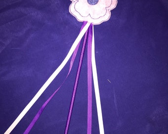 Embroidered Felt Flower Wand  - Great for Party Favors, Dress Up and Costumes - Choose your colors!