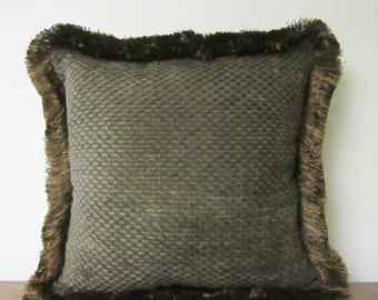 Chenille Upholstery Textured Fabric Pillow Decorator Pillow Soft Comfy Textured Cabin Lodge Decor Fringed Throw Pillow