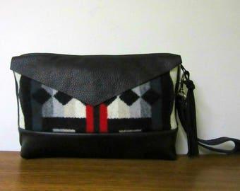 Wrist Bag Wristlet Clutch Purse Southwest Print Blanket Wool from Pendleton Oregon Black Leather