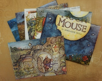 Moon Mouse  - recycled book pages into envelopes